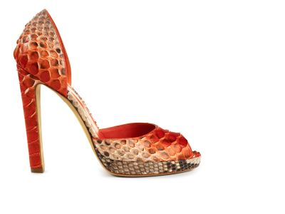 Phillipa Painted Python Peep-toe Dorsay Platforms italian shoes designer Sergio Rossi :  python pump d orsay orange