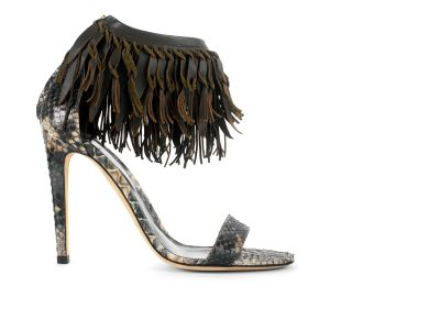 Python Fringes Sandal Sandals italian shoes designer Sergio Rossi :  sergio rossi sandals evening shoes